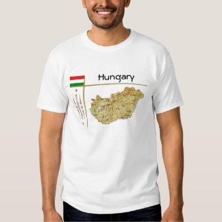 Mapa de Hungría + Bandera + Camiseta del título Playera