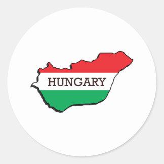 Mapa de Hungría Pegatina Redonda