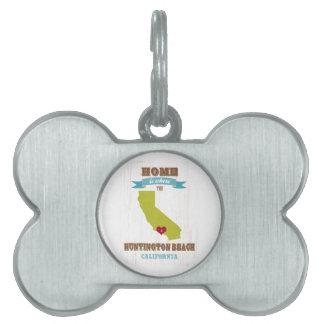 Mapa de Huntington Beach, California - casero es d Placa De Nombre De Mascota