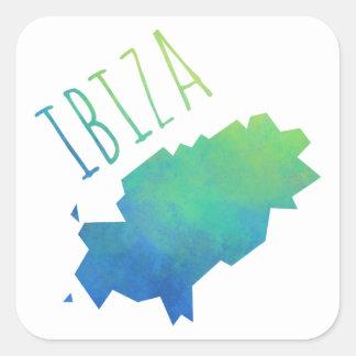 Mapa de Ibiza Pegatina Cuadrada