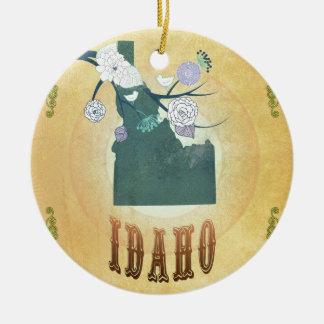 Mapa de Idaho con los pájaros preciosos Adorno Navideño Redondo De Cerámica