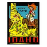 Mapa de Idaho del vintage - país de la patata Tarjetas Postales