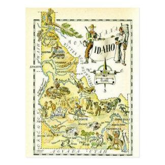 Mapa de Idaho del vintage Postal