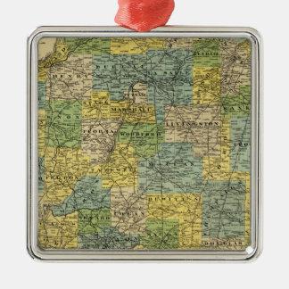 Mapa de Illinois 2 Adorno Navideño Cuadrado De Metal