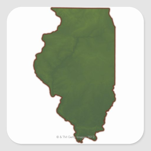 Mapa de Illinois 2 Pegatina Cuadrada