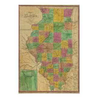 Mapa de Illinois 2 Póster