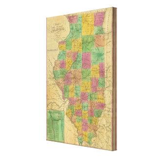 Mapa de Illinois 3 Lona Estirada Galerías