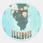 Mapa de Illinois con los pájaros preciosos Pegatina Redonda