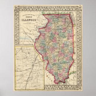Mapa de Illinois de Mitchell Impresiones