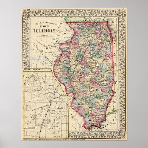 Mapa de Illinois de Mitchell Póster