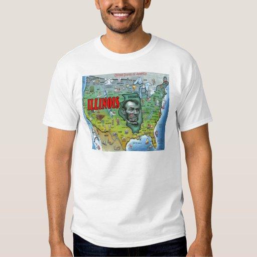 Mapa de Illinois los E.E.U.U. Remera