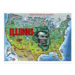 Mapa de Illinois los E.E.U.U. Tarjeta Postal