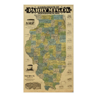 Mapa de Illinois Póster