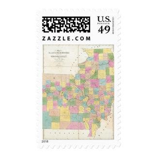 Mapa de Illinois y de Missouri Estampilla