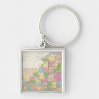 Mapa de Illinois y de Missouri Llavero Cuadrado Plateado