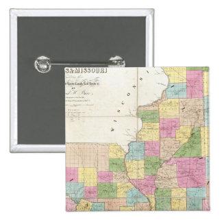 Mapa de Illinois y de Missouri Pin Cuadrado