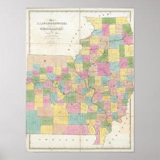Mapa de Illinois y de Missouri Póster