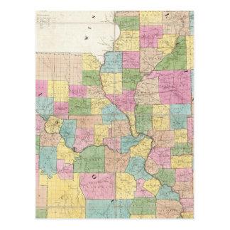 Mapa de Illinois y de Missouri Tarjetas Postales