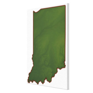 Mapa de Indiana 3 Impresion De Lienzo