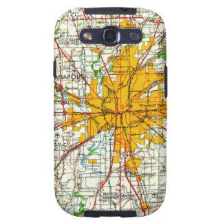 Mapa de Indianapolis del vintage Galaxy SIII Carcasas
