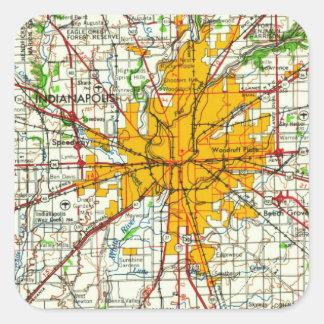 Mapa de Indianapolis del vintage Pegatina Cuadrada