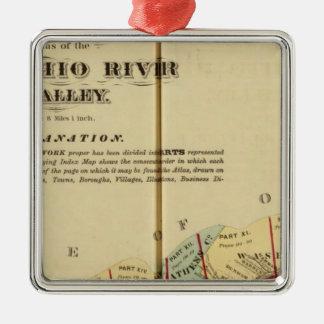 Mapa de índice al atlas del río Ohio superior Adorno Navideño Cuadrado De Metal