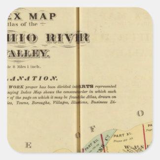 Mapa de índice al atlas del río Ohio superior Calcomanía Cuadrada Personalizada
