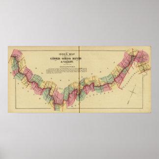 Mapa de índice al atlas del río Ohio superior Póster