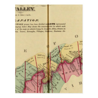 Mapa de índice al atlas del río Ohio superior Tarjetas Postales