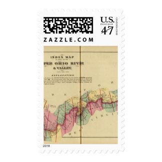 Mapa de índice al atlas del río Ohio superior Timbre Postal