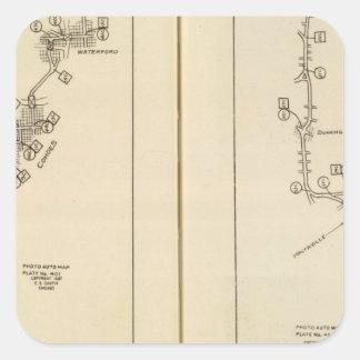 Mapa de índice Albany Saratoga Springs Calcomanía Cuadrada