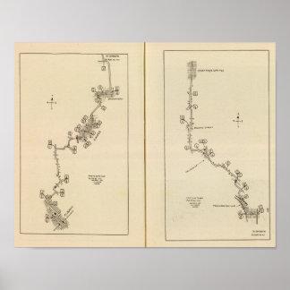 Mapa de índice Albany Saratoga Springs Posters