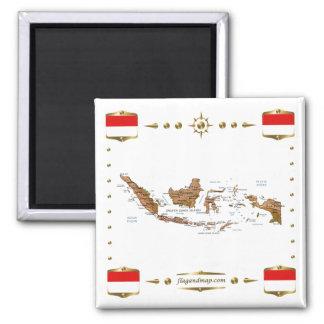 Mapa de Indonesia + Imán de las banderas