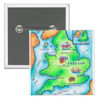 Mapa de Inglaterra Pin Cuadrado
