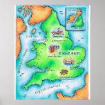 Mapa de Inglaterra Posters