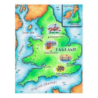 Mapa de Inglaterra Tarjeta Postal