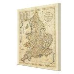 Mapa de Inglaterra y de País de Gales Impresión En Tela
