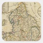Mapa de Inglaterra y de País de Gales Pegatina Cuadrada