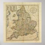Mapa de Inglaterra y de País de Gales Poster