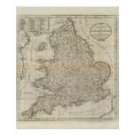 Mapa de Inglaterra y de País de Gales Póster