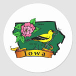 Mapa de Iowa Etiqueta Redonda