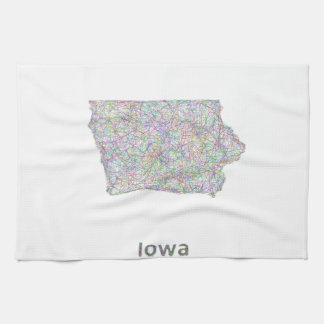 Mapa de Iowa Toallas De Mano