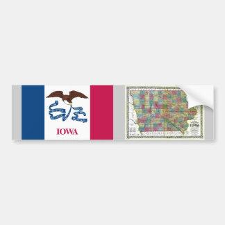 Mapa de Iowa y bandera del estado Pegatina Para Auto