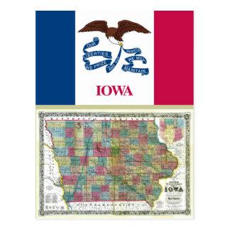 Mapa de Iowa y bandera del estado Tarjeta Postal