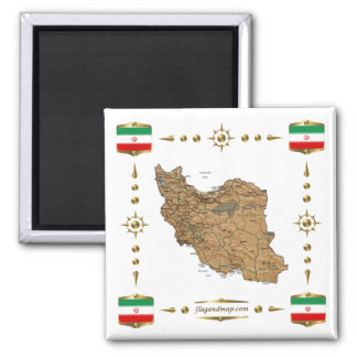 Mapa de Irán + Imán de las banderas