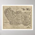 Mapa de Irlanda antigua de Mercator 1580 Poster