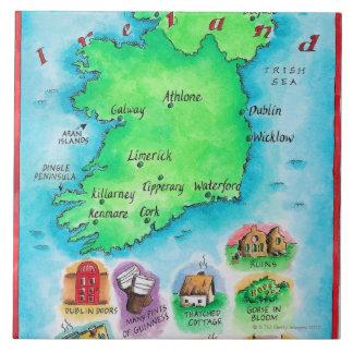 Mapa de Irlanda Azulejo Cuadrado Grande