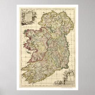 Mapa de Irlanda de Federico de Wit 1710 Póster
