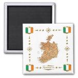 Mapa de Irlanda + Imán de las banderas