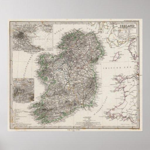 Mapa de Irlanda por Stieler Poster